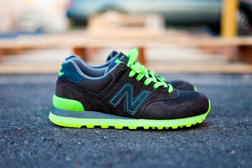 new balance 574 black neon green