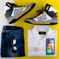 Look 2 Dsauqred 2 shoes and shirt , sevenforallmankind jeands , Fendi sunglasse and Samsung Galaxy Alpha blog